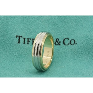 Mens Tiffany & Co. Platinum 18k Gold 2 Row Milgrain Wedding Band Ring 8.5
