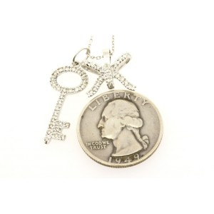 "18k Diamond 2 Pendant Necklace White Gold Key & Ribbon Bow 16"""