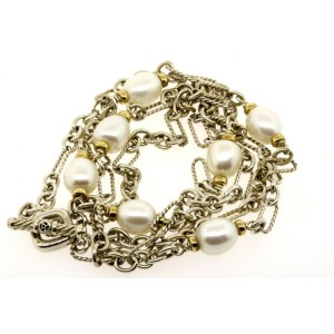 "David Yurman Pearl Bijoux Chain Necklace 36"" Sterling Silver 18k gold Figaro"
