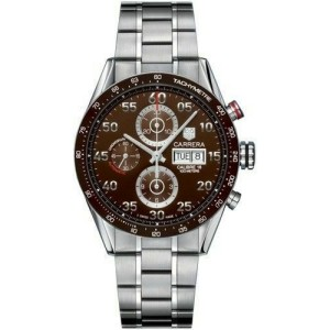 TAG HEUER CARRERA CV2A12.BA0796 DAY DATE AUTOMATIC CHRONOGRAPH BROWN STEEL WATCH