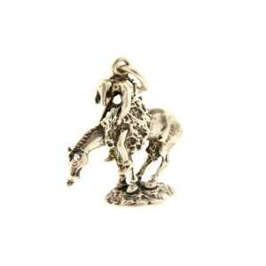 Vintage Sterling Silver Charm Cowboy Jockey Rider on Horse 3D