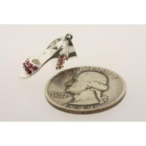 Vintage Sterling Silver Charm High Heel Pink Rhinestone Shoe