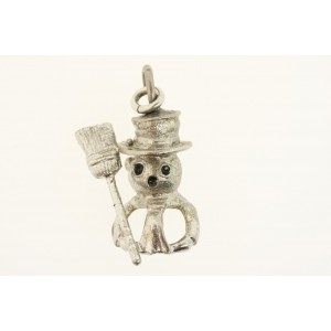 Vintage Sterling Silver Wells Charm 3D Snowman Hat Broom