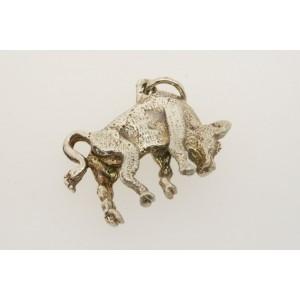 Vintage Sterling Silver Charm 3D Bull Head Down Animal Taurus Zodiac Sign