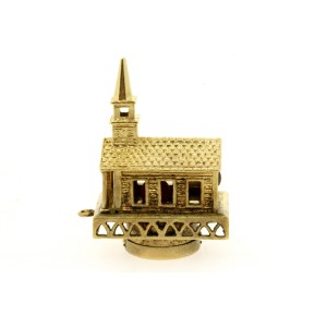 Large Stanhope Church Charm Pendant Lord's Prayer Inside 14k Yellow Gold