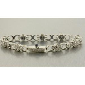 "Charriol Diamond Tennis Bracelet 18k White Gold 7"" 1/2ct Circle Halo Pave"