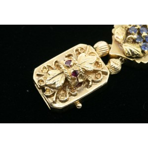 Charm Slide Bracelet 14k Gold Diamond Bee Garnet Snake Gemstone Heavy 69.3g