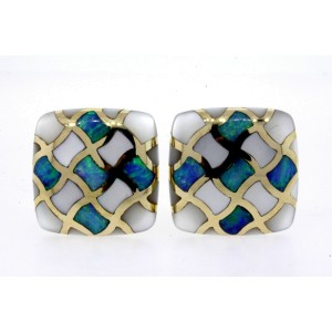 Asch Grossbardt 14k Earrings Opal Mother Pearl Inlay Large Square