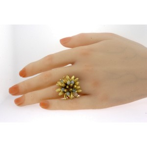 18k Gold BPM Oro Ring Flower Moving Articulated Gemstone Heavy 14.8g size 7