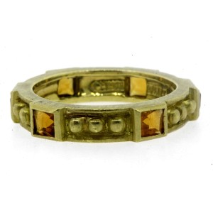 Judith Ripka 18k Gold 6 Citrine Eternity Band Ring Stackable Bead Brush sz 8.75