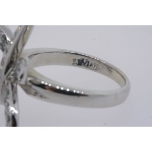 Levian Dragonfly Ring Green White Diamond 14k White Gold size 3.25 Sizable Up