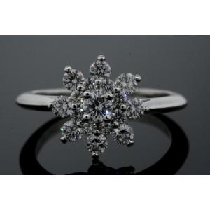 Tiffany & Co. Diamond Flower Ring Platinum $4900 size 5.5