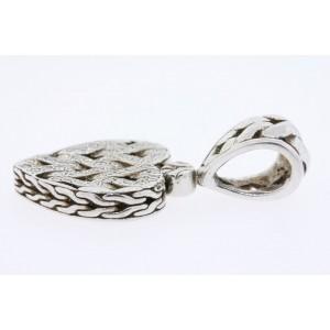 John Hardy Diamond Heart Necklace Pendant Sterling Silver 18k Gold