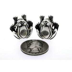 1996 Kieselstein Cord Frog Stud Earrings Sterling Silver 925 Omega Back