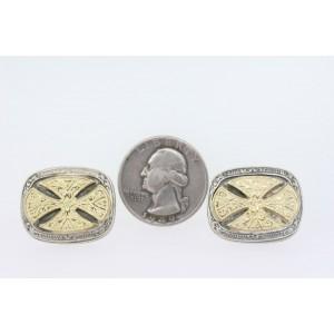 Konstantino Cufflinks Cross Domed Scroll Sterling Silver 18k Gold