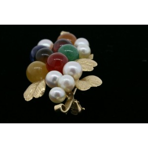 Ming's Pin Brooch Floral Branch Leaves Pearl Carnelian Amethyst Jade Multi Color