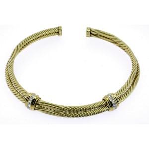 David Yurman Necklace Collar Choker 14k 1.80ct Princess Cut Diamond Double Cable
