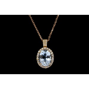 "Levian Pendant Blue Topaz Diamond 14k Rose Gold Necklace 20"" Chain 10k"