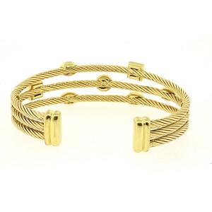 David Yurman Confetti Diamond Cuff Bracelet 18k Yellow Gold Narrow 3 Row
