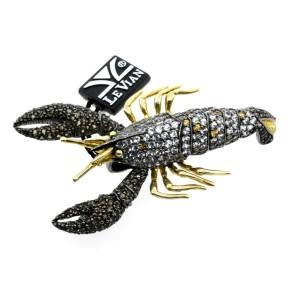 "Levian Crab Pin Pendant Large 3"" Sterling Silver White & Smoky Quartz Citrine"