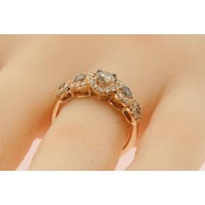 Levian 14k Rose Strawberry Gold 5 Chocolate Diamond Ring Band Halo sz 7