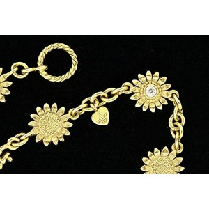 Robert Bielka Tennis Bracelet 18k Yellow Gold Sunflower Double Sided Diamond 7.5