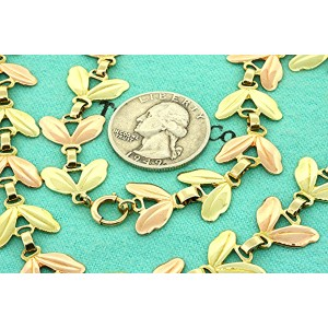 """Tiffany & Co. Necklace Chain Leaf Flower Rose Green Gold 14k 15.5"""" 38g & Box"""