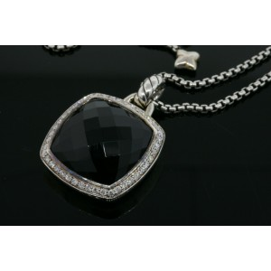 "David Yurman Onyx Albion Diamond Pendant 36"" Chain Necklace Adjustable Sterling"