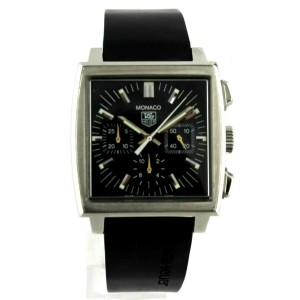 TAG HEUER MONACO CW2111.FT6005 AUTOMATIC CHRONOGRAPH BLACK RUBBER MENS WATCH
