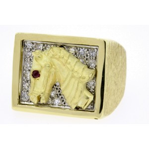 Men's Horse Diamond Ring Band Ruby Eye 3D Signet 18k Yellow Gold Heavy 23.2g 9