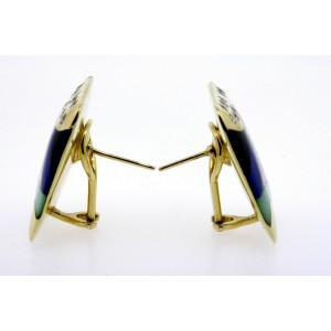Asch Grossbardt Face 14k Earrings Diamond Opal Mother Pearl Inlay Large Square