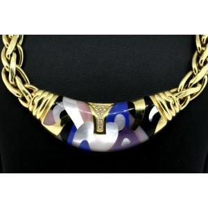 "Asch Grossbardt Necklace Diamond Gemstone Inlay 18k Yellow Gold 62.5g 19"""