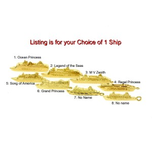 14k Yellow Gold Cruise Ship Boat Charm Ocean Grand Regal Princess Choice of 8