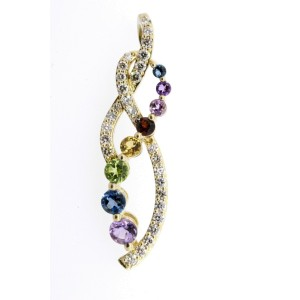 Levian Pendant Multi Color Gemstone Diamond Twist 14k Yellow Gold Journey