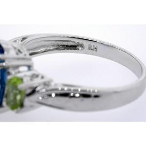 Effy BH Ring Oval Blue Topaz Peridot sides 3 Stone 14k White Gold sz 7.25
