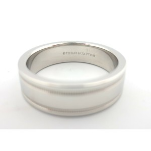 Tiffany & Co Platinum Flat Double Milgrain Wedding Band Ring 6mm Size 10.5