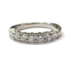 $5,300 Tiffany & Co Embrace 0.57ct Round 7 Diamond Platinum Wedding Band Sz 4