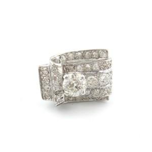 Antique Platinum Old European Cut Rectangle Engagement Ring