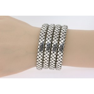 John Hardy 5 Coil Wrap Bracelet Dot Snake Stretch Flex Sterling Silver Medium