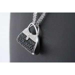 Mirabelle Purse Evening Bag Pendant Necklace 18k White Gold Sapphire Diamond