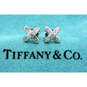 Tiffany & Co. Diamond X Stud Earrings Platinum Small $2500
