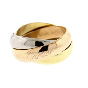 Cartier Trinity Ring Band 18k Yellow White Rose Gold Wide Wedding sz 59 US 9