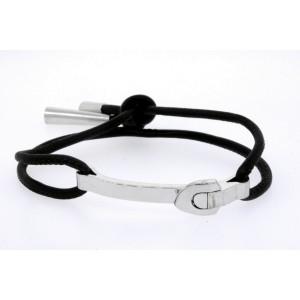 Louis Vuitton Bracelet 18k White Gold Emprise Serrure Pampilles Leather & Case