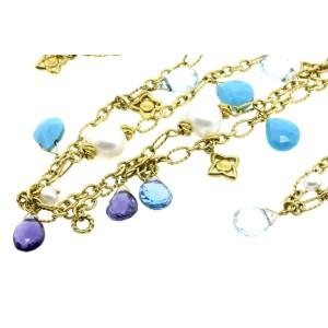 "David Yurman 47"" Long Necklace Chain 18k Yellow Gold Pearl Turquoise Aqua Topaz"