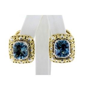 John Hardy Earrings 18k Gold Blue Topaz Cushion Cut Omega Back