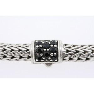 """John Hardy Lava Black Sapphire Bracelet Wheat Chain Sterling Silver 5mm 6.75"""""""