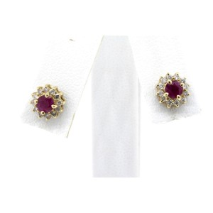 Effy BH Ruby Diamond Earrings 14k Yellow Gold Halo Studs Small