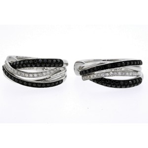 Effy Caviar Diamond Hoop Earrings Black White Crossover 14k Gold Rare