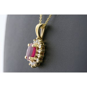 Effy BH Ruby Diamond Pendant  Oval 1.50ct Halo Necklace 14k Yellow Gold