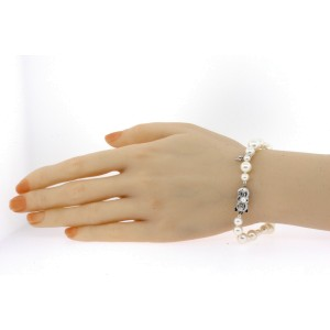 Mikimoto Pearl Bracelet 5.5mm to 9.5mm Graduated 18k White Gold & Box 8""